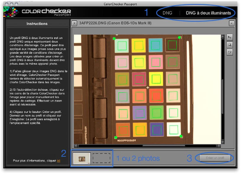 Image de la COlorchecker dans le logiciel Colorchecker Camera Calibration