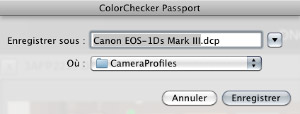 "Menu ""Enregistrer le profil "" Colorchecker"