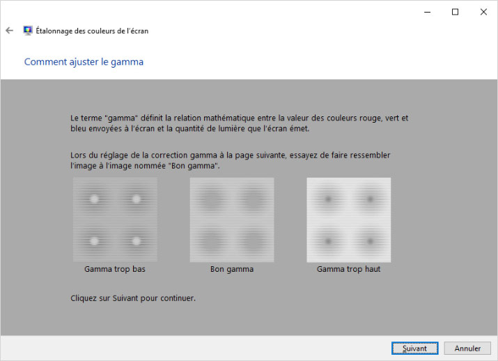 Réglages du gamma sous Windows 10 sans sonde de calibration