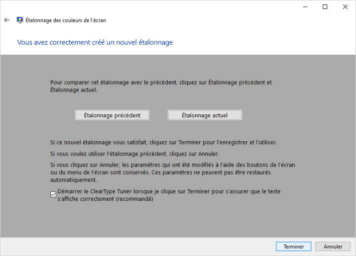 Vérification de la calibration sans sonde dans Windows 10
