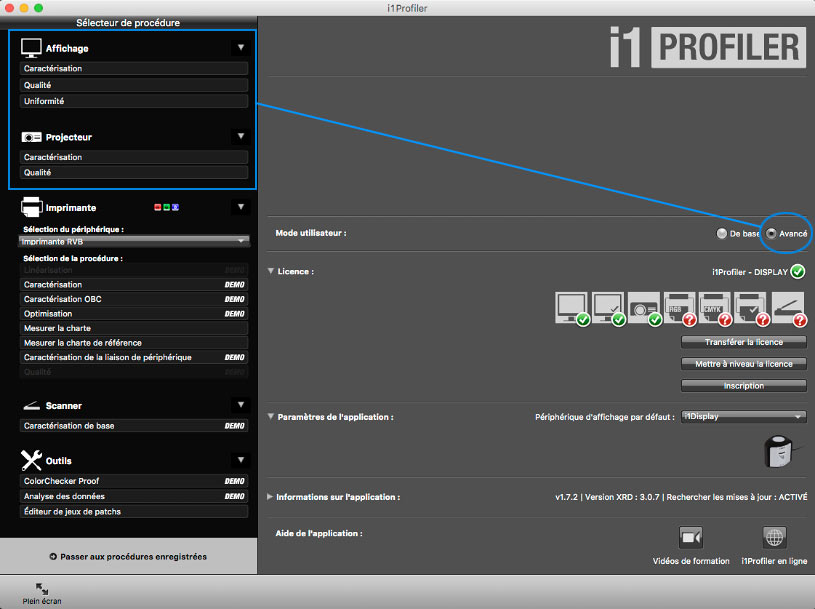 Interface avancée d'i1Profiler