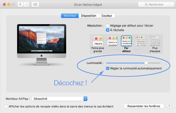 Option réglage de luminosité des iMac Retina Apple