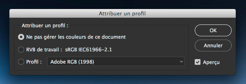 "Menu ""Attribuer un profil"" dans Photoshop"