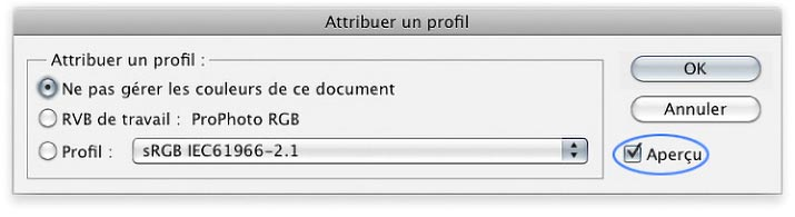 "Menu ""Attribuer un profil"" de Photoshop"