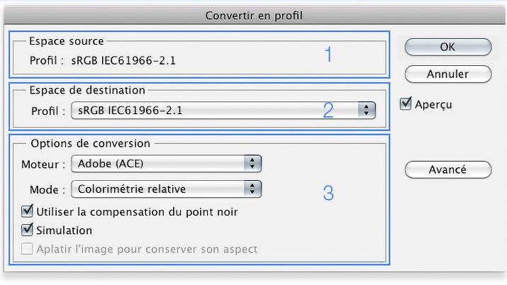 Menu -Convertir en profil- de Photoshop