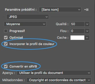 Menu 'Enregistrer pour le Web' de Photoshop avec options 'Incorporer le profil' et 'Convertir en sRVB'.