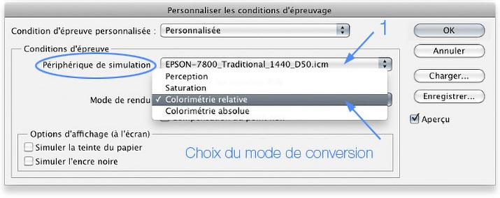 Menu Personnaliser les conditions d'épreuvage de Photoshop