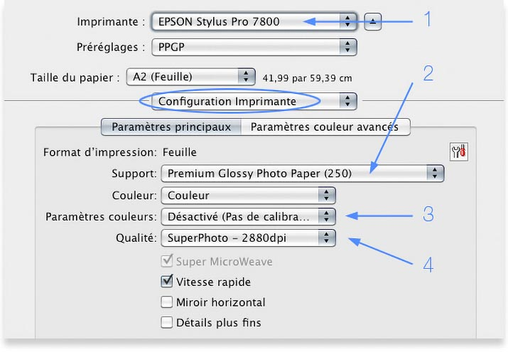 Driver d'impression de l'Epson 7800 avec options d'impression
