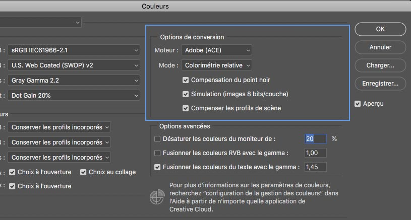 Options de conversion de Photoshop