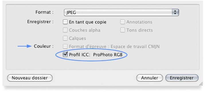 Option -incorporer le profil- du menu Enregistrer sous de Photoshop
