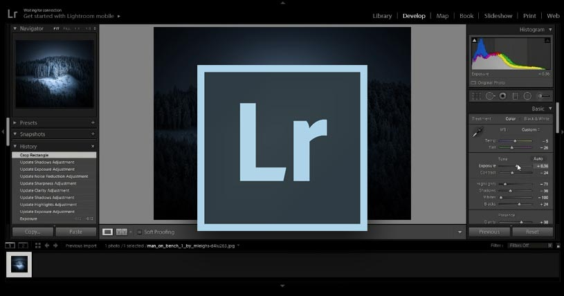Interface de Lightroom