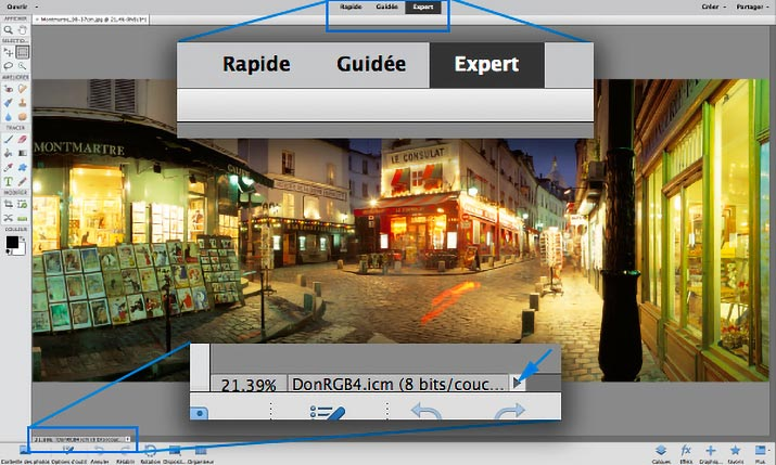 Choix du mode d'interface de Photoshop Elements