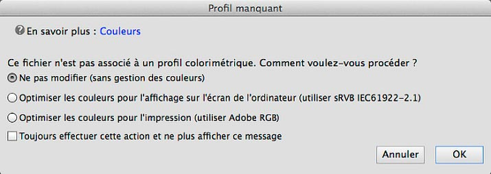 Menu profil manquant dans Photoshop Elements