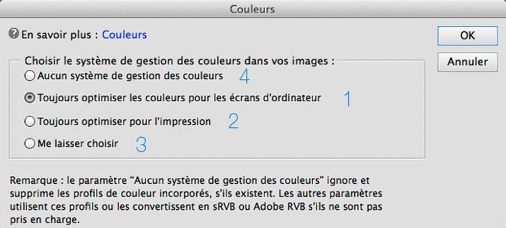 Options de gestion des couleurs de Photoshop Elements