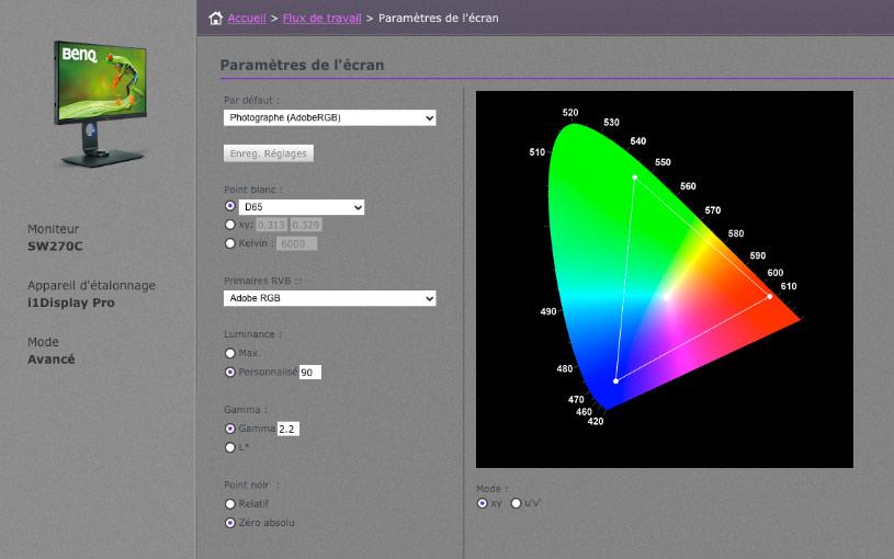 BenQ SW270C's Palette  Master Element