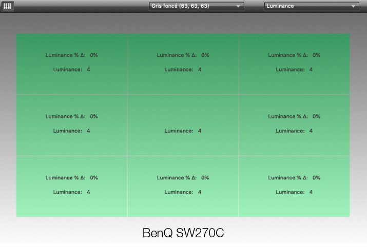 Luminance uniformity at 63 after calibration of the BenQ SW270C with i1Display Pro