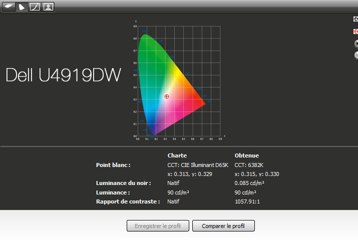 Rapport final après calibrage du DELL U4919DW avec l'i1Display Pro