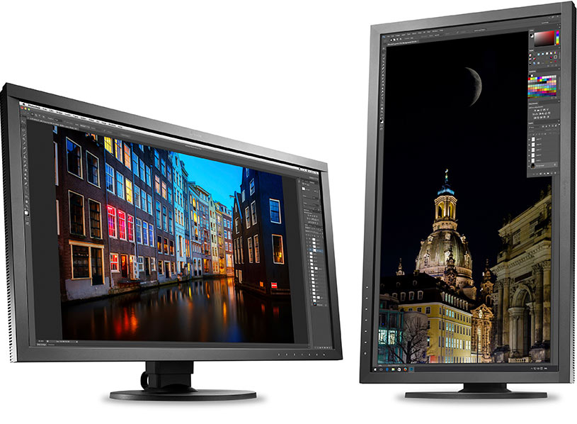 Ecran Eizo ColorEdge CS2740 orienté en position paysage ou portrait