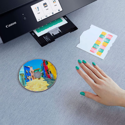Impression CD a ou stickers pour les ongles vec Canon TS8350